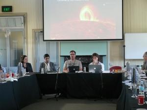 Q Effect Panel during Jairus Grove's presentation. From L to R: Katina Michael, Parag Khanna, Jairus Grove, David Reilly. (Photo: Jose Torrealba)