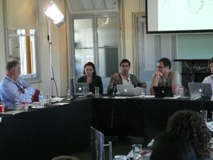 Parag Khanna presents his research as fellow panelists Katina Michael and Jairus Grove look on. (Photo: Jose Torrealba)