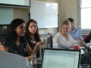 Monika Barthwal-Datta presents her research on food security, as panel participants (L-R) Kathleen Vogel, Alison Bashford and Stefen Elbe look on. (Photo: Jose Torrealba)