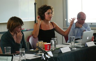 Speakers from left to right: Carolin Kaltofen, CISS/Aberystwyth; Rebecca Adler-Nissen, University of Copenhagen; and Simon Tormey, USYD, as moderator