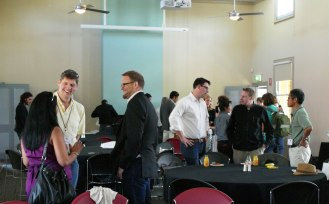 Q Symposium participants arriving at the quarantine station getting ready for the beginning of the conference
