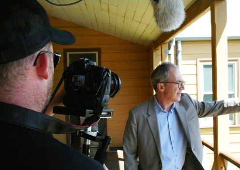 Jack McGrath (Conceptavision) video taping the interview with James Der Derian, CISS Director, for the Q Symposium documentary