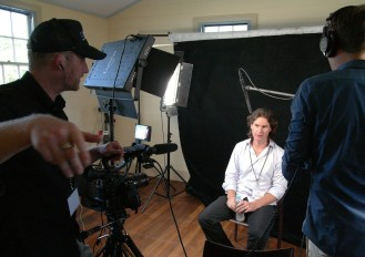 Q Symposium production team from Conceptavision (Jack McGrath on the camera & Dan on the mike) with David Reilly, Quantum Nanoscience Lab, USYD; during his interview for the Q Symposium documentary