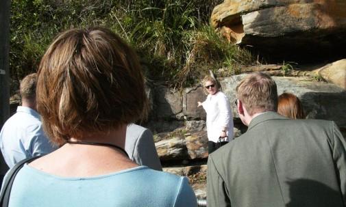 "Professor Bashford leading the ""Talk & Tour"" activity"