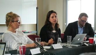 Speakers from left to right: Alison Bashford, USYD/Cambridge; Kathleen Vogel, Cornell University; and Adam Kamradt-Scott, CISS, as moderator