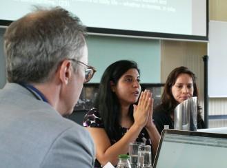 James Der Derian, CISS Director (back). Panel speakers from left to right: Monika Barthwal-Datta, UNSW; Kathleen Vogel, Cornell University