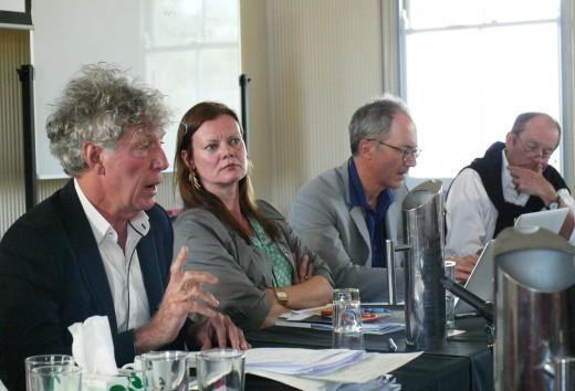 Speakers from left to right: John Keane, USYD; Lene Hansen, University of Copenhagen; James Der Derian, CISS Director (moderator); and Thomas Biersteker, The Graduate Institute, Geneva