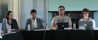 Panel speakers from left to right: Katina Michael, University of Wollongong; Parag Khanna, Hybrid Reality Institute; Jairus Victor Grove, University of Hawaii; and David Reilly, Quantum Nanoscience Lab, USYD