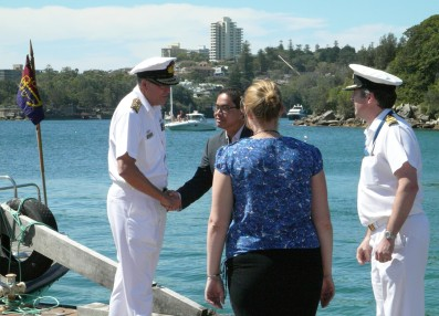 Vice Admiral Ray Griggs, Chief of Navy, RAN, arriving at the Q Station at Manly with Alastair Cooper, CMDR. They are being welcomed by Kun Rahadian, Director of Sales & Marketing, Q Station and Lucy Sunman from CISS