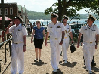 Vice Admiral Ray Griggs, Chief of Navy, RAN, arriving at the Q Station, Manly with his escort, accompanied by Lucy Sunman from CISS