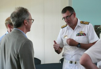 James Der Derian, CISS Director, welcoming Vice Admiral Ray Griggs, Chief of Navy, RAN, to the Q Symposium