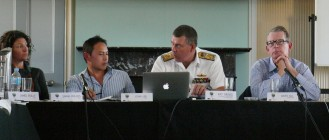 Speakers from left to right: Sarah Phillips, CISS; John Lee, CISS; Vice Admiral Ray Griggs, Chief of Navy, RAN; Bates Gill, United States Studies Centre/USYD as the moderator