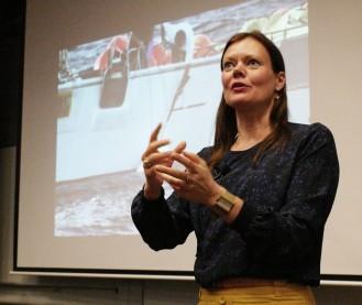 Dr Lene Hansen, Professor of International Relations at the University of Copenhagen, delivering the 2014 Michael Hintze Lecture