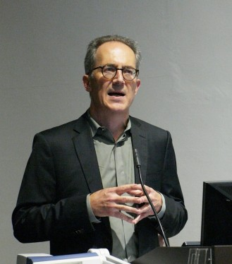 Professor James Der Derian opens the 7th Annual Michael Hintze Lecture in International Security at the General Lecture Theatre, Quadrangle, The University of Sydney