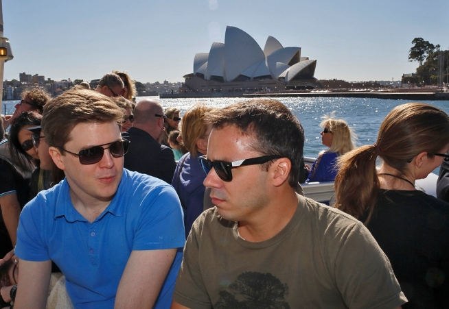 Antoine Bousquet and Vincent Pouliot conversing on the ferry. Photo: Gilbert Bel-Bachir.