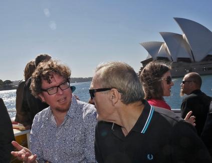 Sebastian Kaempf and Colin Wight conversing on the ferry. Photo: Gilbert Bel-Bachir.