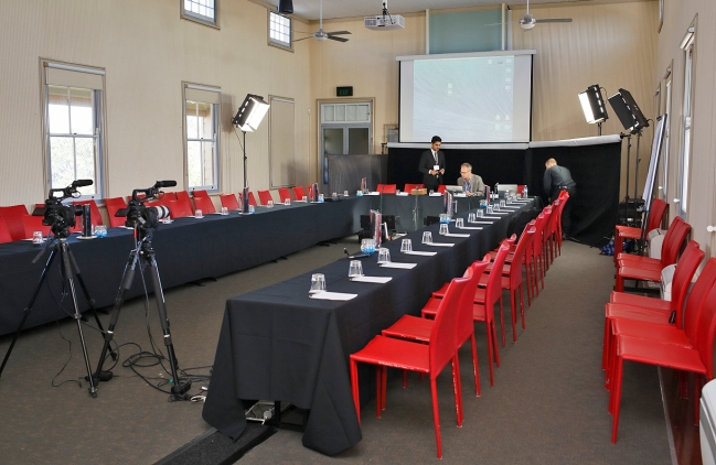 Getting ready to start the Q2 Symposium: James Der Derian at the main conference room. Photo: Gilbert Bel-Bachir.