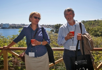 Glenda Sluga and Graeme Gill having an after lunch chat. Photo: Gilbert Bel-Bachir.