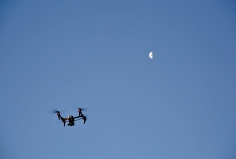 UAV over the Q Station skyline. Photo: Gilbert Bel-Bachir.