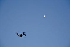 UAV over the Q Station skyline. Photo: Gilbert Bel-Bachir.