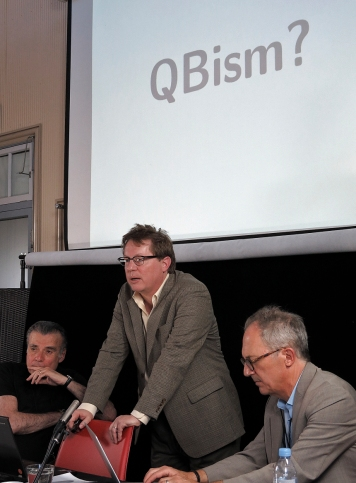 """The Space-Time of War and Diplomacy panel. Christopher Fuchs presents """"What If There Were QBism before the Quantum of War?"""" Photo: Gilbert Bel-Bachir."""
