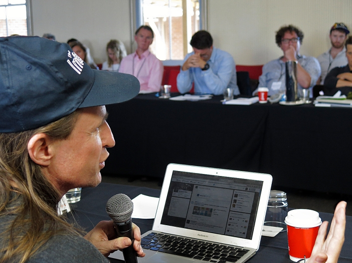 McKenzie Wark asking a question to members of The Space-Time of War panel. Photo: Gilbert Bel-Bachir.