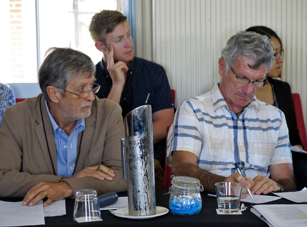 Graeme Gill and Jonathan Bogais listening and taking notes. Photo: Gilbert Bel-Bachir.