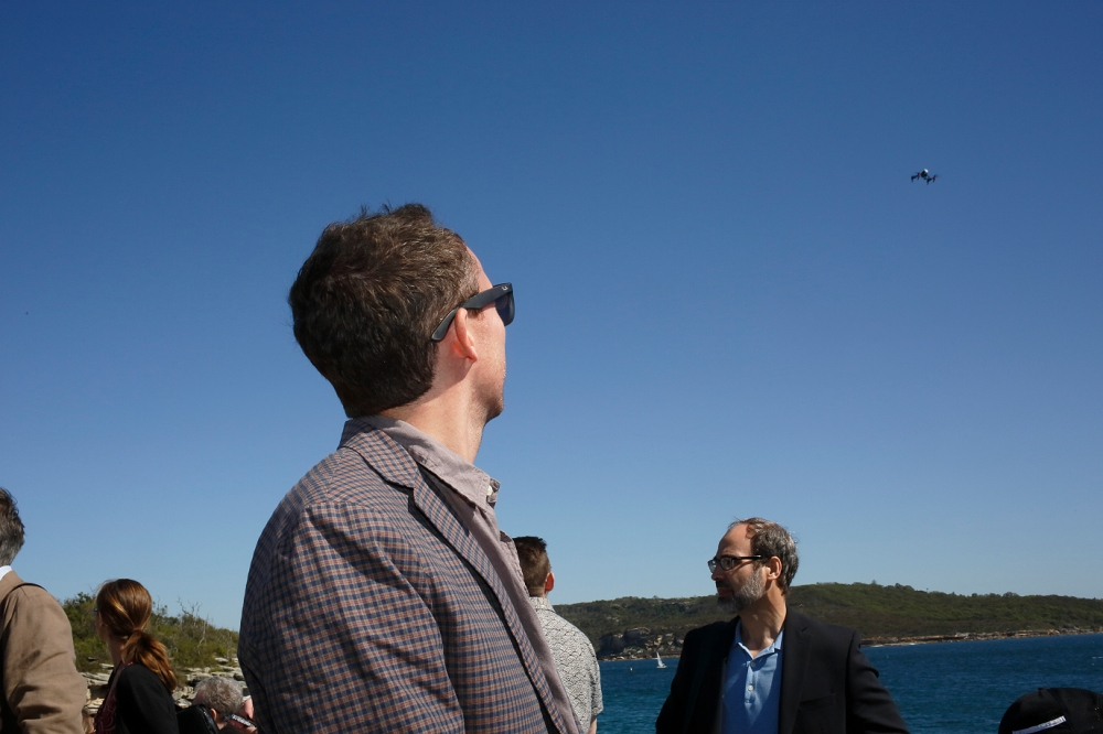 Q participants arrive under the watchful eye of the quadrocopter. (Photo: Conceptavision)