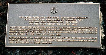 Plaque commemorating Australia's 1st Battalion in Circular Quay. (Photo: Register of Australian War Memorials)