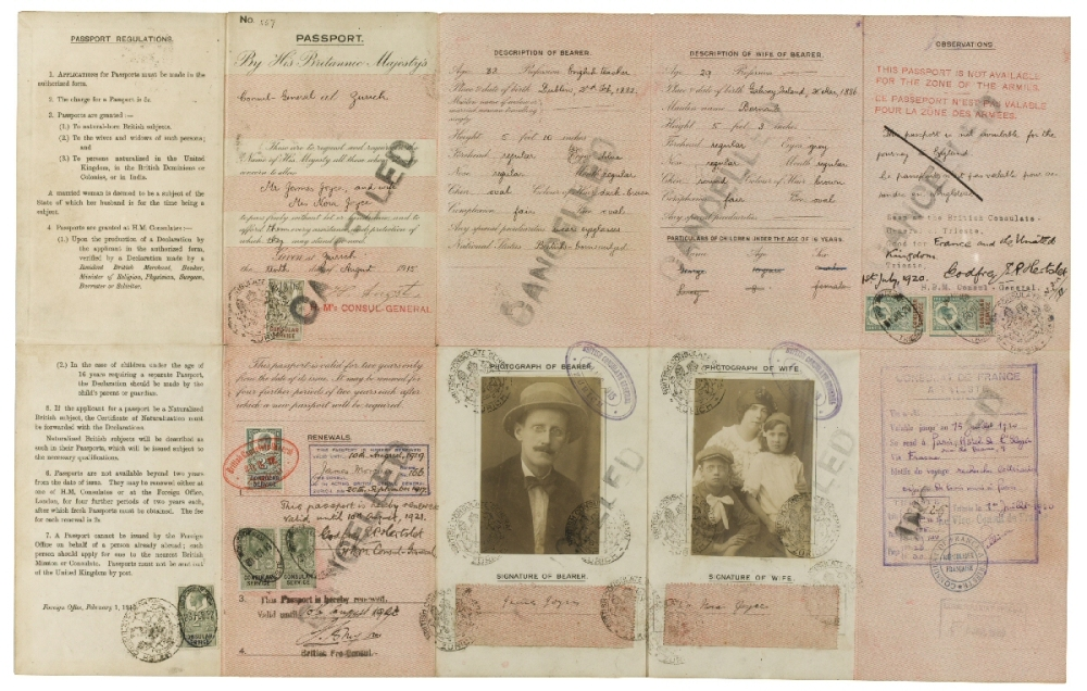 The passport of James Joyce and his family circa 1921. (Photo: Open Culture)