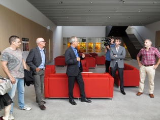 Prof. James Der Derian, CISS Director, introducing the guests to Michael Biercuk and Stephen Bartlett at the Nanoscience Lab building. Photo: Gilbert Bel-Bachir.