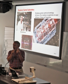 Stephen Bartlett presentation on Quantum research. Photo: Gilbert Bel-Bachir.