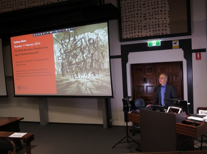 James Der Derian opens the Q Lecture. Photo: Gilbert Bel-Bachir.