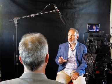 James interviews Stephen Bartlett for the Project Q documentary. Photo: Gilbert Bel-Bachir.