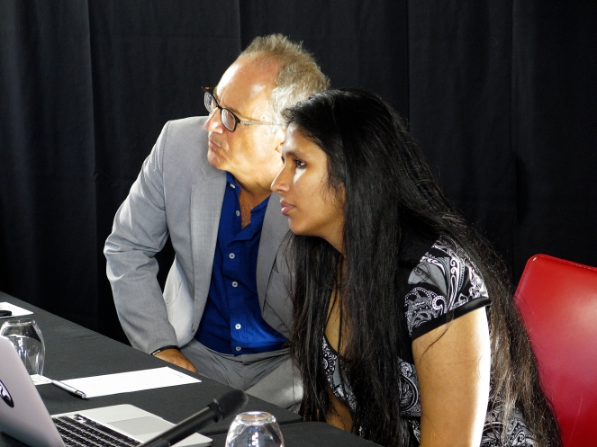 Shohini Ghose listening to Alexander Wendt's answer to her question. Photo: Gilbert Bel-Bachir.