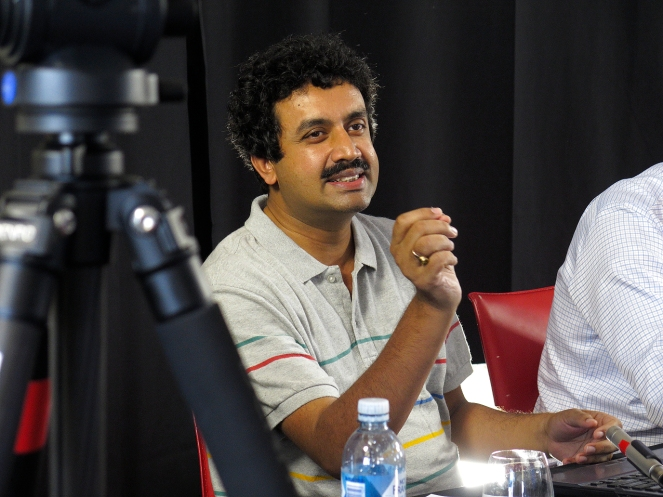 Anirban Bandyopadhyay answering questions. Photo: Gilbert Bel-Bachir.
