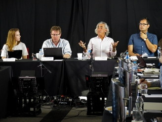 """Quantum Metaphysics"" panel speakers answering questions. Here is John Phillip Santos turn. Photo: Gilbert Bel-Bachir."