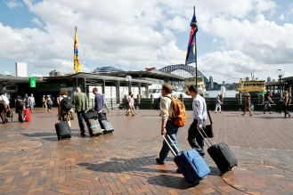 Guests arriving at Circular Quay Ferry Station. Photo: Gilbert Bel-Bachir.