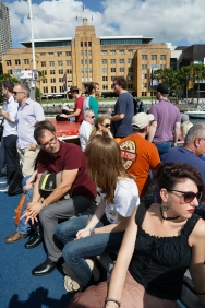 On the boat to Q Station. Photo: Gilbert Bel-Bachir.