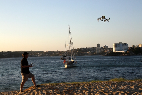 Jack could not get enough of flying his UAV at the Q Station beach front. Photo: Gilbert Bel-Bachir.