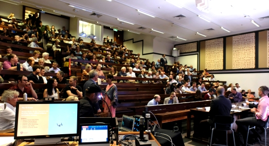 Audience arriving for the Q4 Forum at the General Lecture Theatre, the Quadrangle. Photo: Christopher Waters.